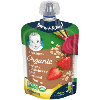 Pouch of Gerber's Organic Banana Strawberry Beet Oatmeal