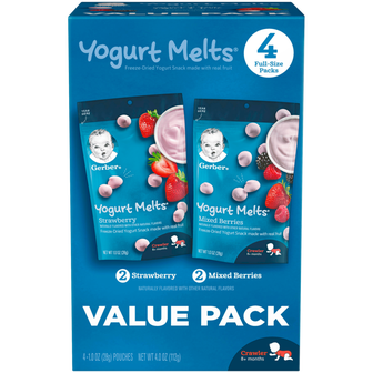 Value Pack of Pouches of Strawberry and Mixed Berries Yogurt Melts