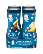 Pack of 8 Canisters of Gerber Banana and Strawberry Apple Puffs