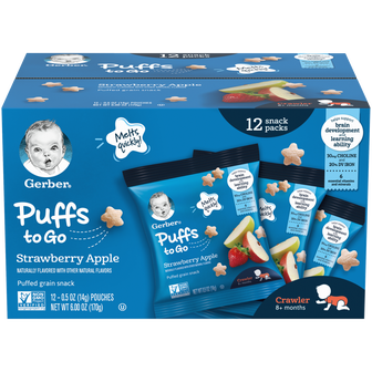 Pack of 12 Gerber Strawberry Apple Puffs to go