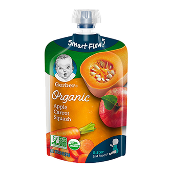 Pouch of Gerber Organic 2nd Foods Apple Carrot Squash