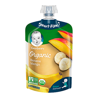 Pouch of Gerber Organic 2nd Foods Banana Mango Baby Food