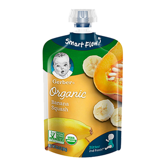 Pouch of Gerber's Organic 2nd Foods Banana Squash baby food