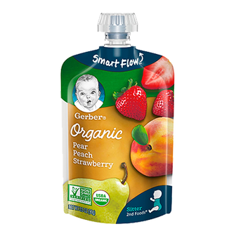 Pouch of Gerber Organic 2nd Foods Pear Peach Strawberry Baby Food