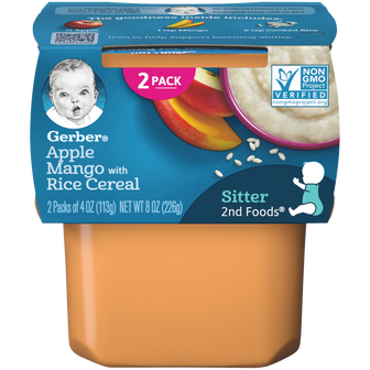Tub of Gerber's Apple Mango with Rice Cereal