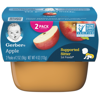 Tub of apple sauce for supported sitters