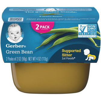 Tub of Gerber 1st Foods Green Bean baby food