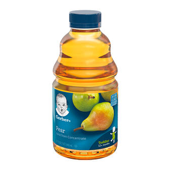 Bottle of Gerber 100% Pear Juice
