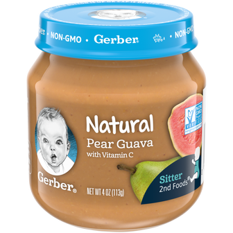 Jar of Gerber Natural 2nd Foods Pear Guava Baby Food