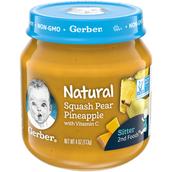 Jar of Natural 2nd Foods Squash Pear Pineapple Baby Food