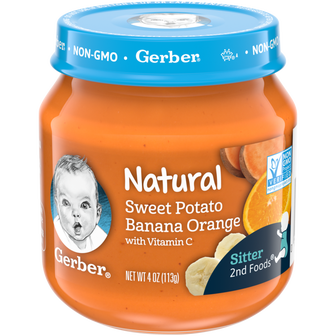 Jar of Gerber Natural 2nd Foods Sweet Potato Banana Orange