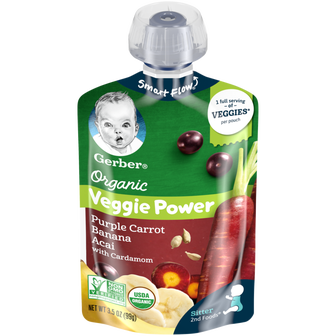 Pouch of Gerber Organic 2nd Foods Purple Carrot Banana Acai with Cardamom