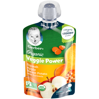 Pouch of Gerber Organic 2nd Foods Squash Apple Sweet Potato
