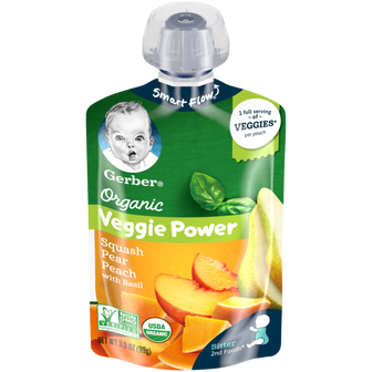 Pouch of Gerber Organic 2nd Foods Squash Pear Peach with Basil
