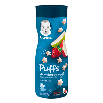 Canister of Gerber Strawberry Apple Puffs