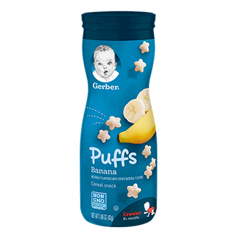 Canister of Gerber Banana Puffs