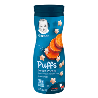Canister of Gerber Sweet Potato Puffs