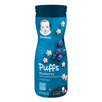 Canister of Gerber Blueberry Puffs