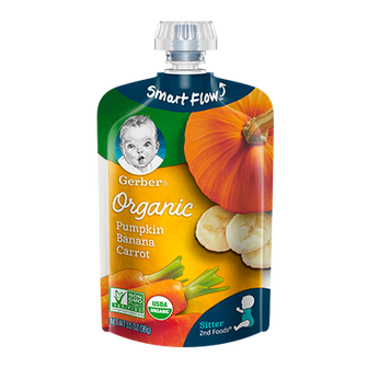 Pouch of Gerber Organic 2nd Foods Pumpkin Banana Carrot Baby Food