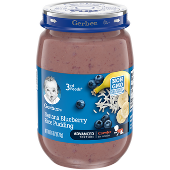 Jar of Gerber 3rd Foods Banana Blueberry Rice Pudding