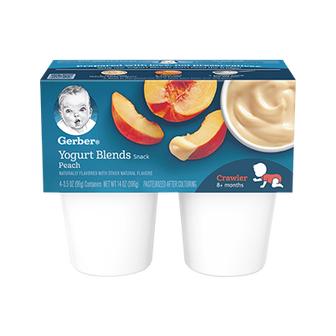 Tubs of Gerber Peach Yogurt Blends Snacks