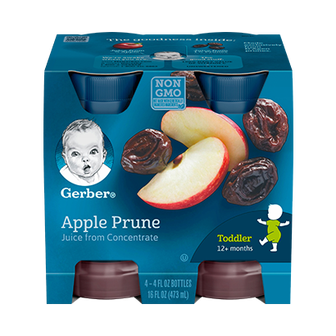 Bottles of Apple Prune Juice
