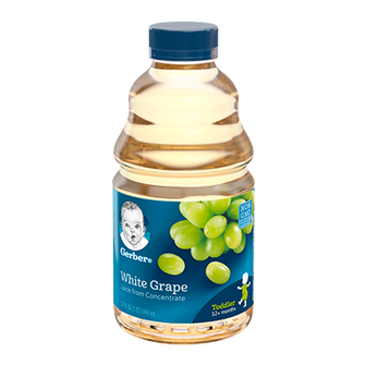 Bottle of Gerber 100% White Grape Juice