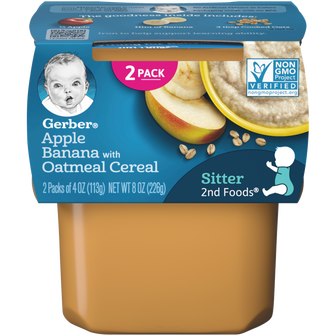 Tub of Gerber Apple Banana with Oatmeal