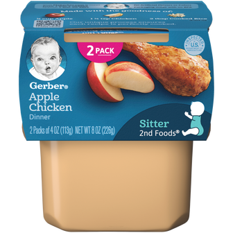 Tub of Gerber 2nd Foods Apple Chicken Dinner Baby Food