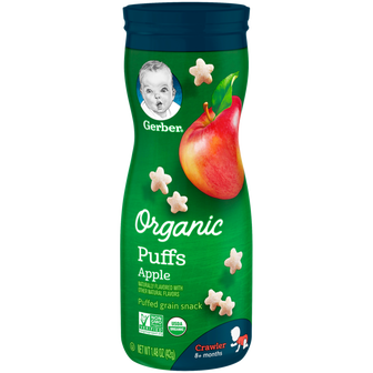 Canister of Gerber Organic Apple Puffs