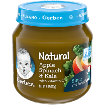 Jar of Natural Apple Spinach Kale baby food