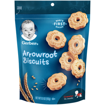 Pouch of Gerber arrowroot cookies