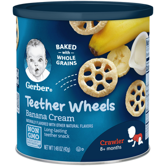 Canister of Gerber Banana Cream Teether Wheels