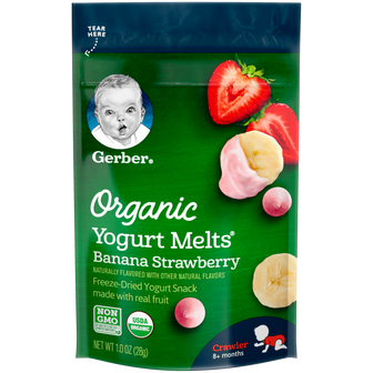 Pouch of Gerber Banana Strawberry Organic Yogurt Melts