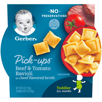 Tray of Gerber's Beef and Tomato Ravioli Pick-Ups