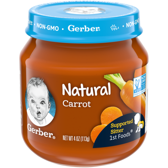 Jar of Gerber Natural 1st Foods Carrot Baby Food