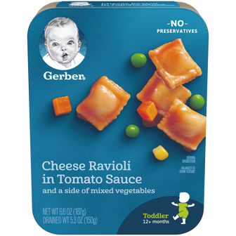 Package of Gerber Cheese Ravioli in Tomato Sauce