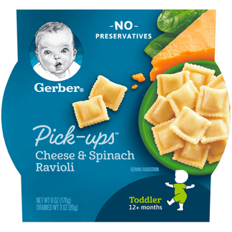 Package of Gerber Cheese and Spinach Ravioli Pick-Ups