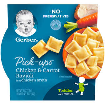 Package of Gerber Chicken and Carrot Ravioli Pick-Ups