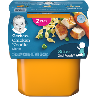 Tub of Gerber 2nd Foods Chicken Noodle Dinner