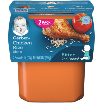Tub of Gerber 2nd Foods Chicken Rice Dinner