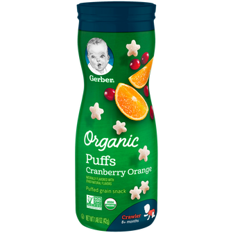 Canister of Gerber Organic Cranberry Orange Puffs
