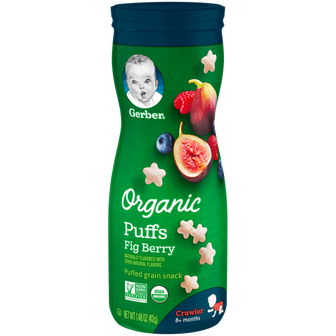 Canister of Gerber Organic Fig Berry Puffs