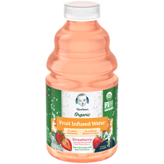 Bottle of Gerber Organic Strawberry Fruit Infused Water