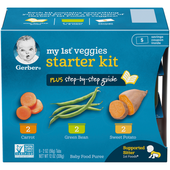 Box of Gerber's My 1st Veggies Starter Kit of baby food