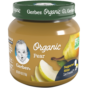 Jar of Gerber 1st Foods Organic Pear Baby Food