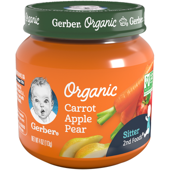 Jar of Gerber Organic 2nd Foods Carrot Apple Pear Baby Food