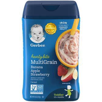 Container of Gerber's Banana Apple Strawberry Multigrain Cereal