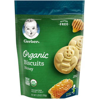 Pouch of Gerber Organic Honey Biscuits