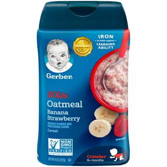 Container of Gerber Lil Bits Oatmeal Banana Strawberry Cereal